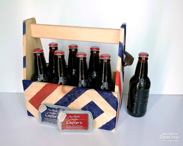 Diamond Stripe Wood Bottle Tote for Dad by Dana Tatar for Clearsnap