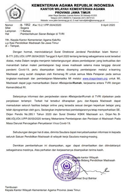 Surat Pemberitahuan Siaran Belajar di TVRI