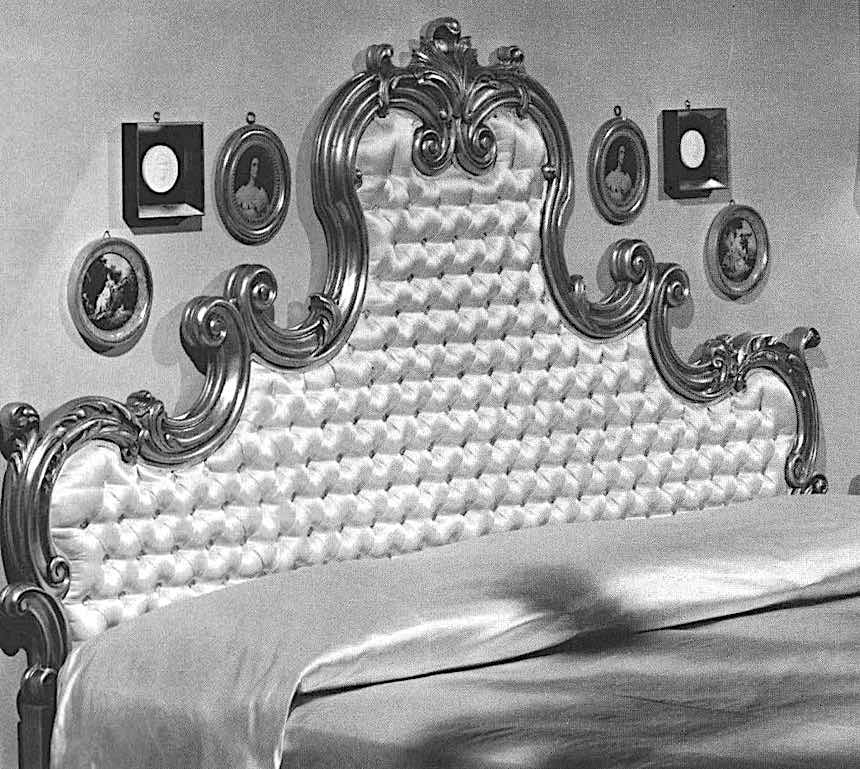 1963 bed fancy headboard, photograph
