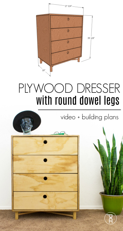 Learn how to build a modern dresser that's small in size but big in storage from inexpensive plywood and wood dowels following this easy video tutorial
