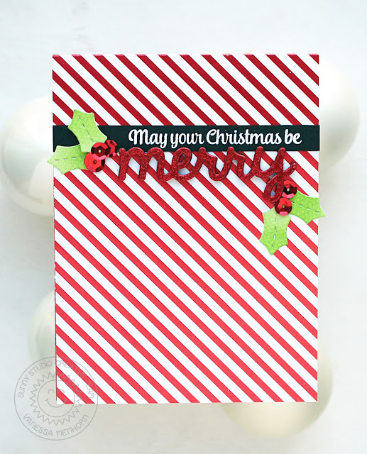 Sunny Studio Stamps: Merry Sentiments Holly Christmas Card by Vanessa Menhorn.
