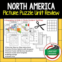 North America, World Geography Picture Puzzle BUNDLE, Test Prep, Unit Review, Study Guide