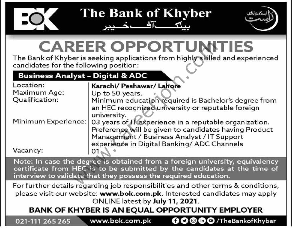 Bank of Khyber BOK Jobs Business Analyst 2021