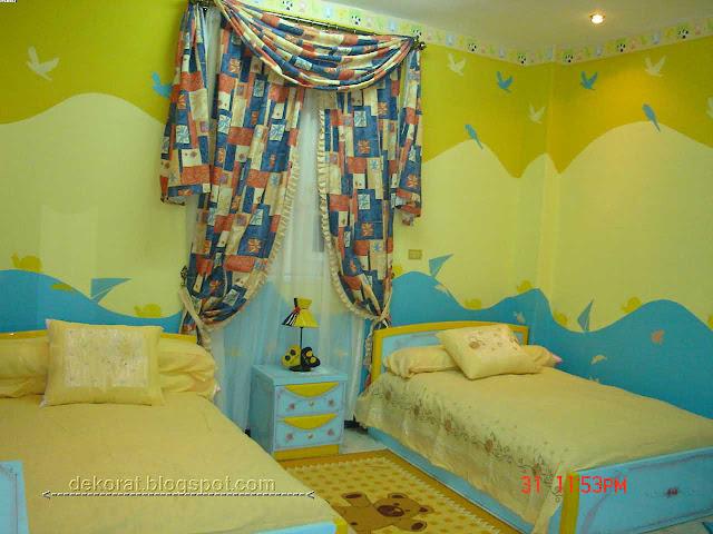 دهانات غرف اطفال باللون الأصفر والأزرق
