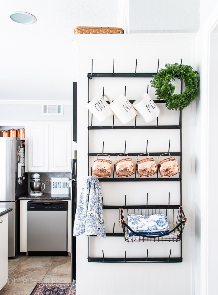 farmhouse modern kitchen with mug rack, copper and vintage blue accessories