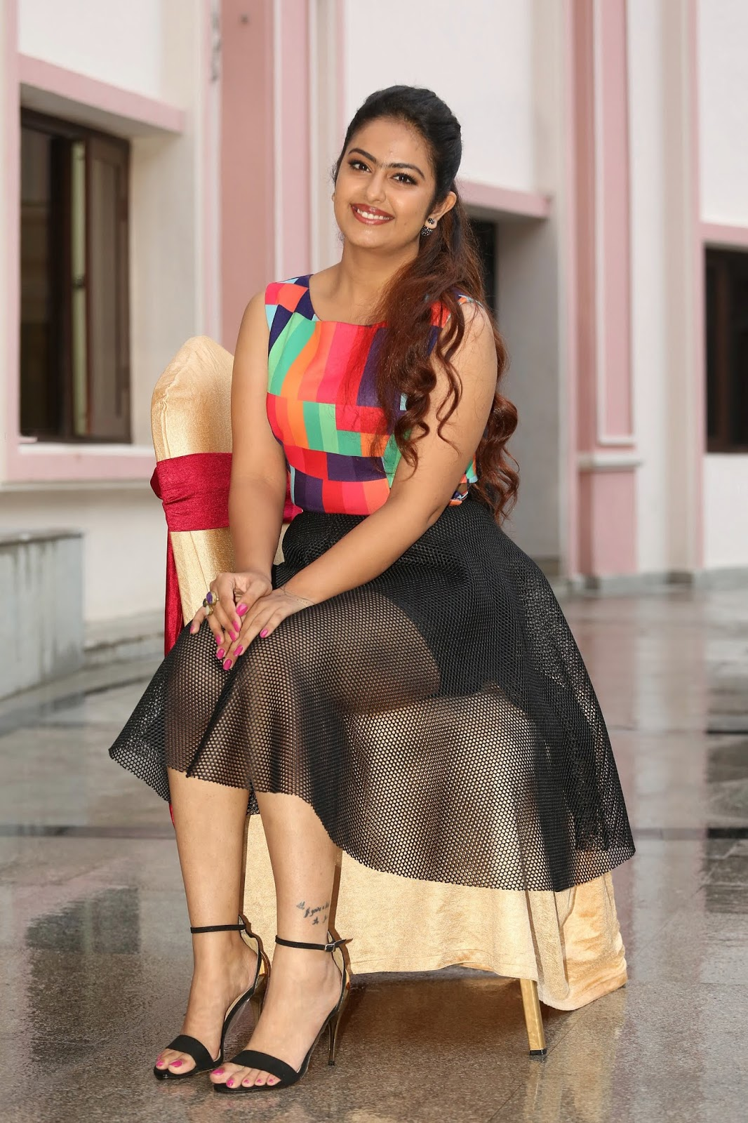 Avika Gaur Looks super cute in a transparent net black skirt