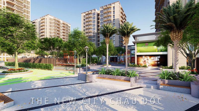Một góc phối cảnh công viên nội khu The New City Châu Đốc