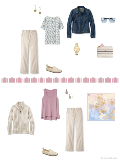2 ways to style khaki pants from a travel capsule wardrobe