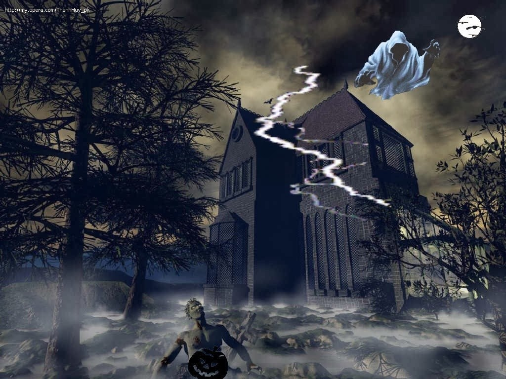 Animated Cute Skull Wallpaper Haunted House With Ghost Hd Wallpapers Hindi