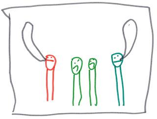 Vier Männchen. Die beiden mittleren mit heruntergezogenen Mundwinkeln. Die beiden äußeren mit Sprechblasen.