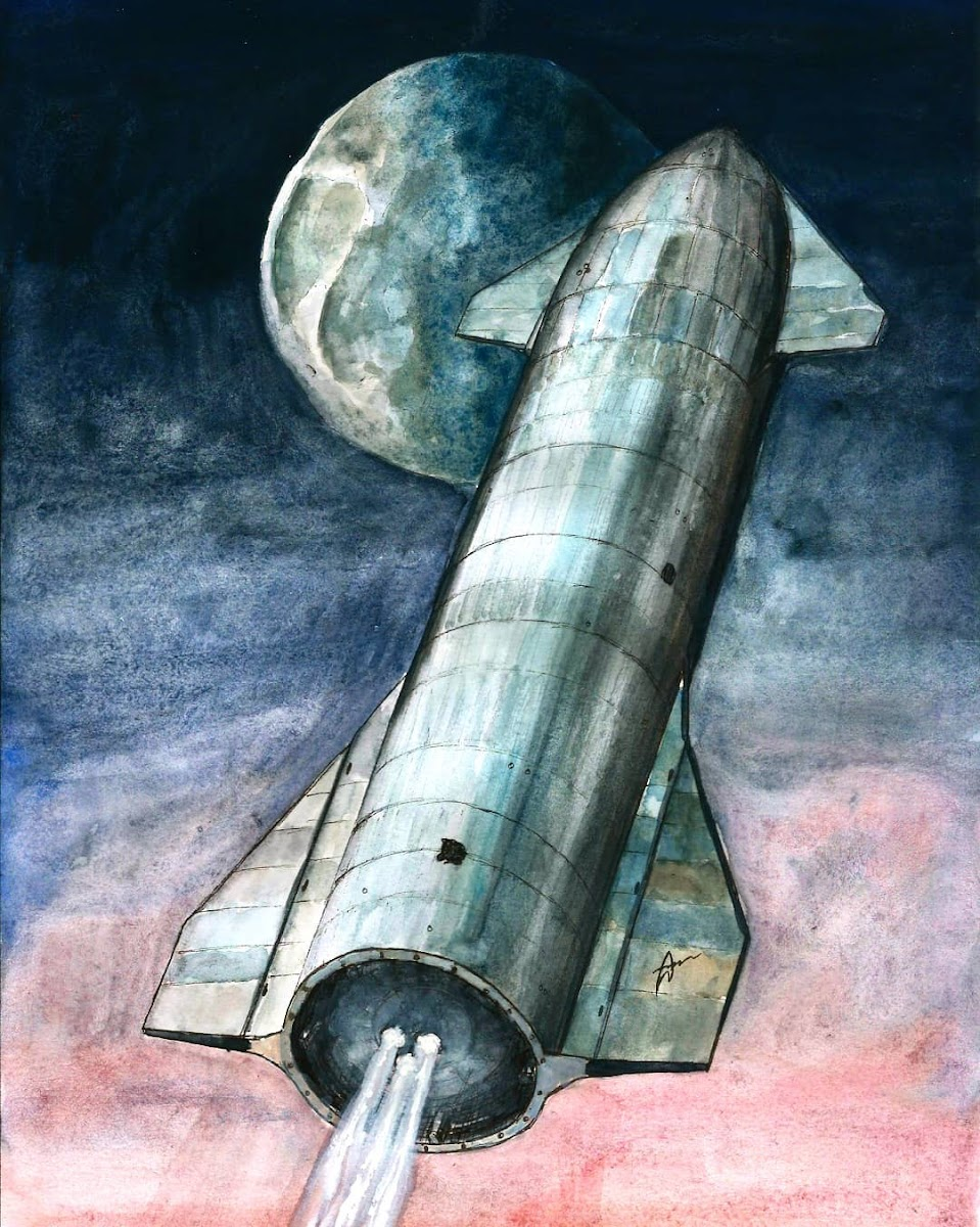 Sketch of SpaceX's Starship SN8 15km flight by Colin Doublier