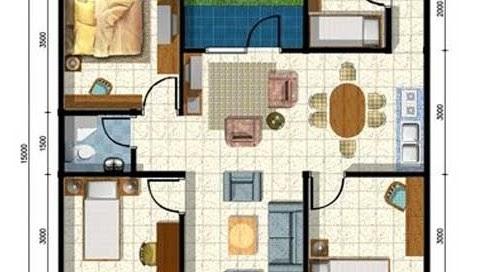 LINGKAR WARNA: Denah Rumah Minimalis Ukuran 9x15 Meter 4 Kamar Tidur 1  Lantai + Tampak Depan
