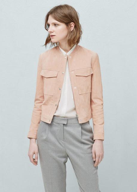 pink suede jacket, pastel suede jacket, mango suede jacket,