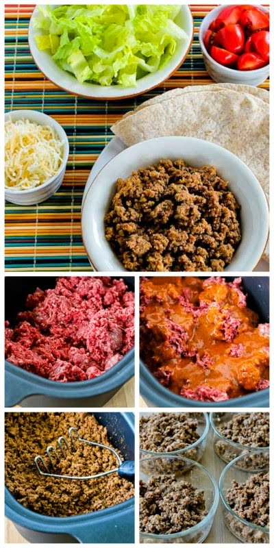 Spicy CrockPot Ground Beef featured on SlowCookerFromScratch.com