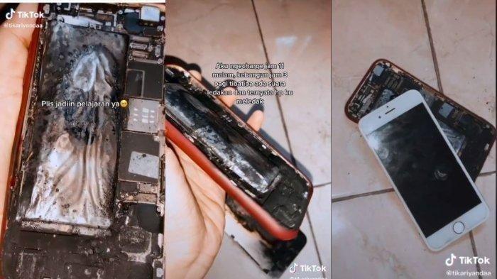 Cuplikan video viral tentang HP meledak usai dicas