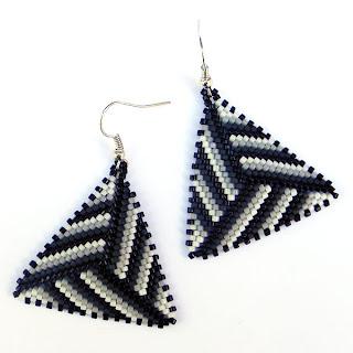 купить треугольные серьги ручной работы стильные сережки из бисера интернет- магазин ру