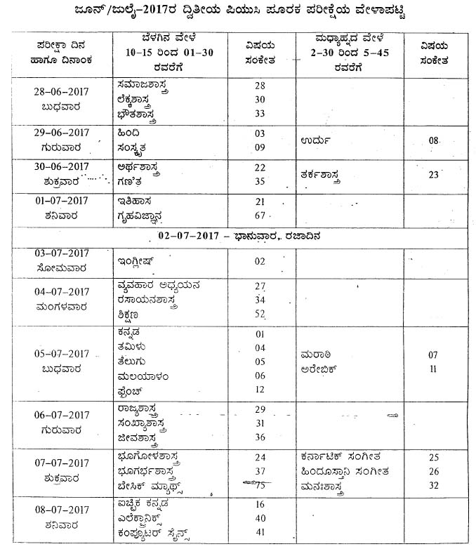 Karnataka 2nd puc supplementary exam time table july 2017 karnataka 2nd puc supplementary exam time table july 2017 malvernweather Gallery