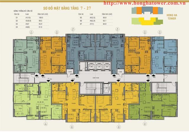 Mặt bằng tầng căn hộ điển hình Hồng Hà Tower