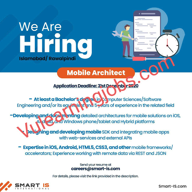 Smart IS International Jobs 2020 In Pakistan For Mobile Architect Latest