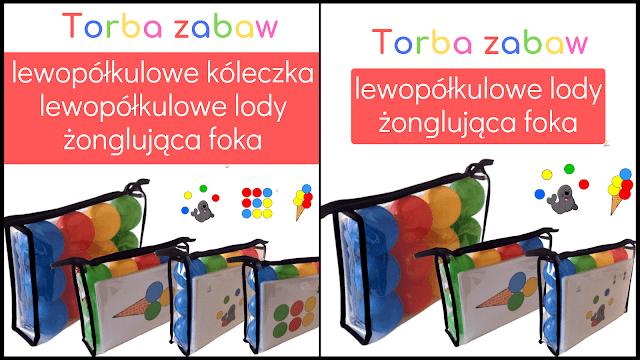 busy bags układanki lewopółkulowe w formie toreb zabaw
