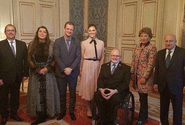 International Paralympic Committee meeting. Crown Princess Victoria wore Ralph Lauren Pleated Silk Shirtdress