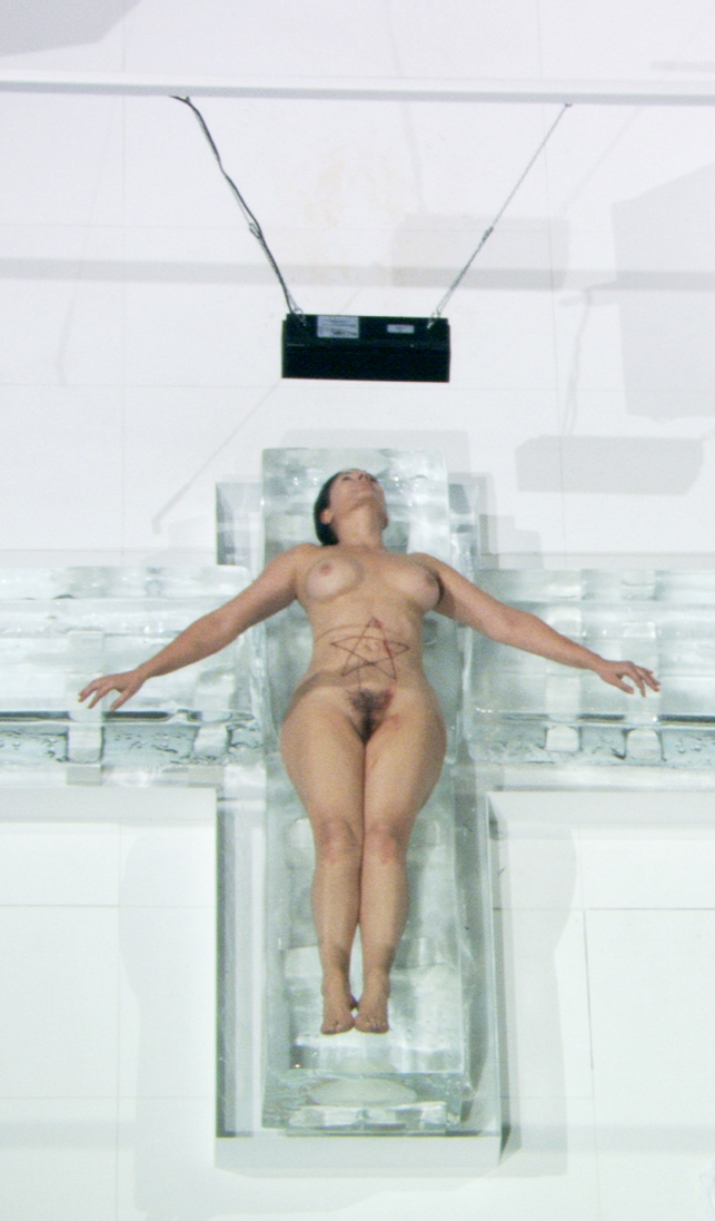 Abramovic whips herself until she eventually lies down on a cross made out of ice blocks.