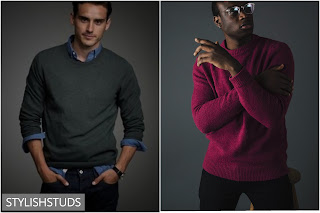 Two mens wearing plain one colour crew neck sweaters.