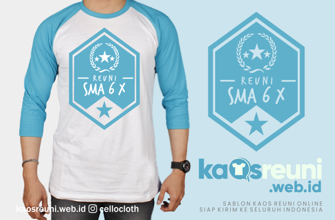 Desain Kaos Reuni SMA 6 X - Kaos Reuni Raglan 3/4 Tosca Putih