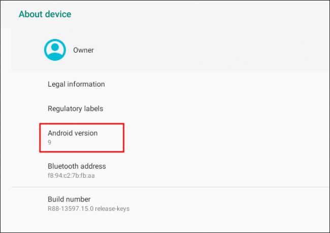 هنا سترى رقم إصدار Android