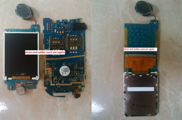 Fix and Done 100%  Samsung GT-E 1272 LCD white blabk due to exposure to water