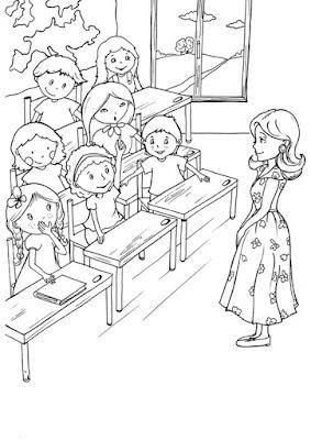 Hình tô màu cô giáo đang giảng bài