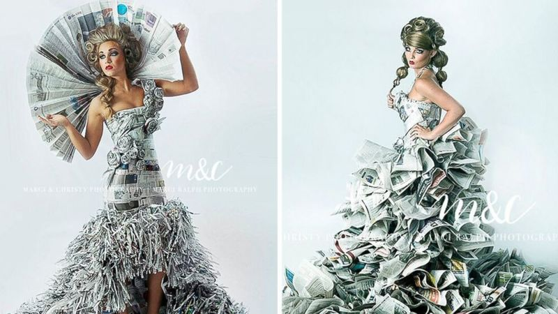 Prom Dresses Made from Newspapers