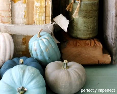 Blue pumpkins painted with chalk paint
