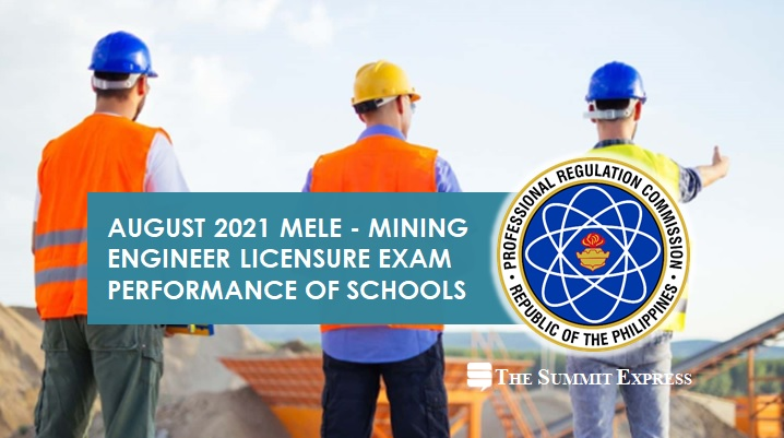 August 2021 Mining Engineer licensure exam results