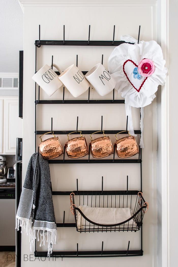 hang fabric heart from mug rack