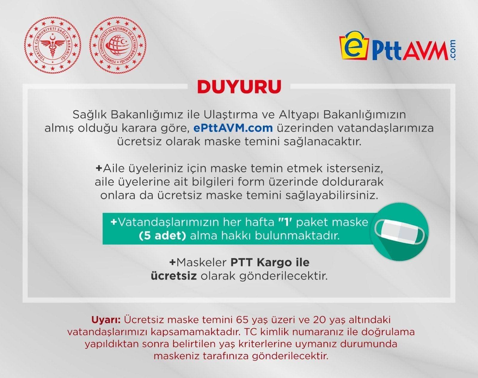 PTT, İnternet Üzerinden Ücretsiz Maske Dağıtımı Yapacak