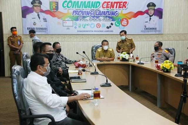Ketua DPRD dan Gubernur Lampung Rapat Teleconference dengan Sejumlah Menteri
