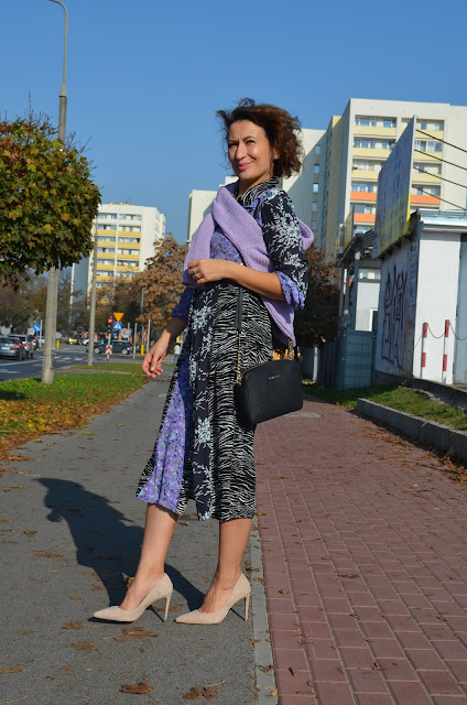 Purple Midi Flowery Dress