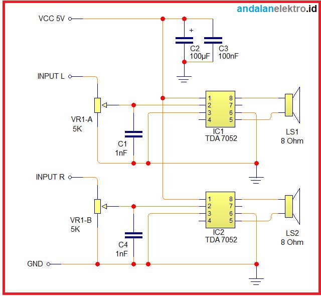 Skema rangkaian Amplifier mini stereo sederhana USB 5V