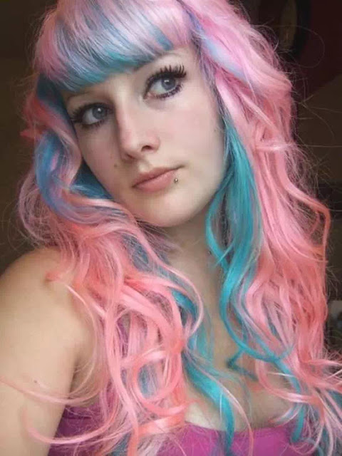 pink and turquoise ombre hairstyle