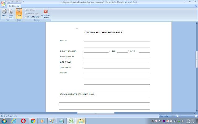 Contoh laporan kegiatan dinas luar bagi guru dan karyawan sekolah