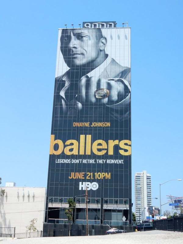 Giant Dwayne Johnson Ballers season 1 billboard