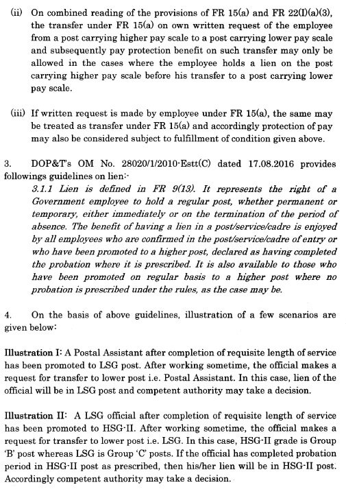 Request for transfer to lower posts under the provision of fundamental Rule 15.A