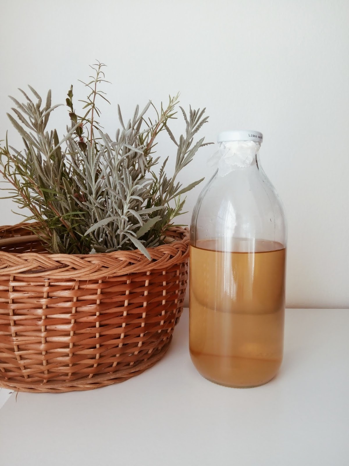 glass bottle with acv rinse
