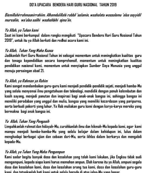 Doa Upacara Hari Guru dan HUT PGRI Ke-74 Tahun 2019 ...