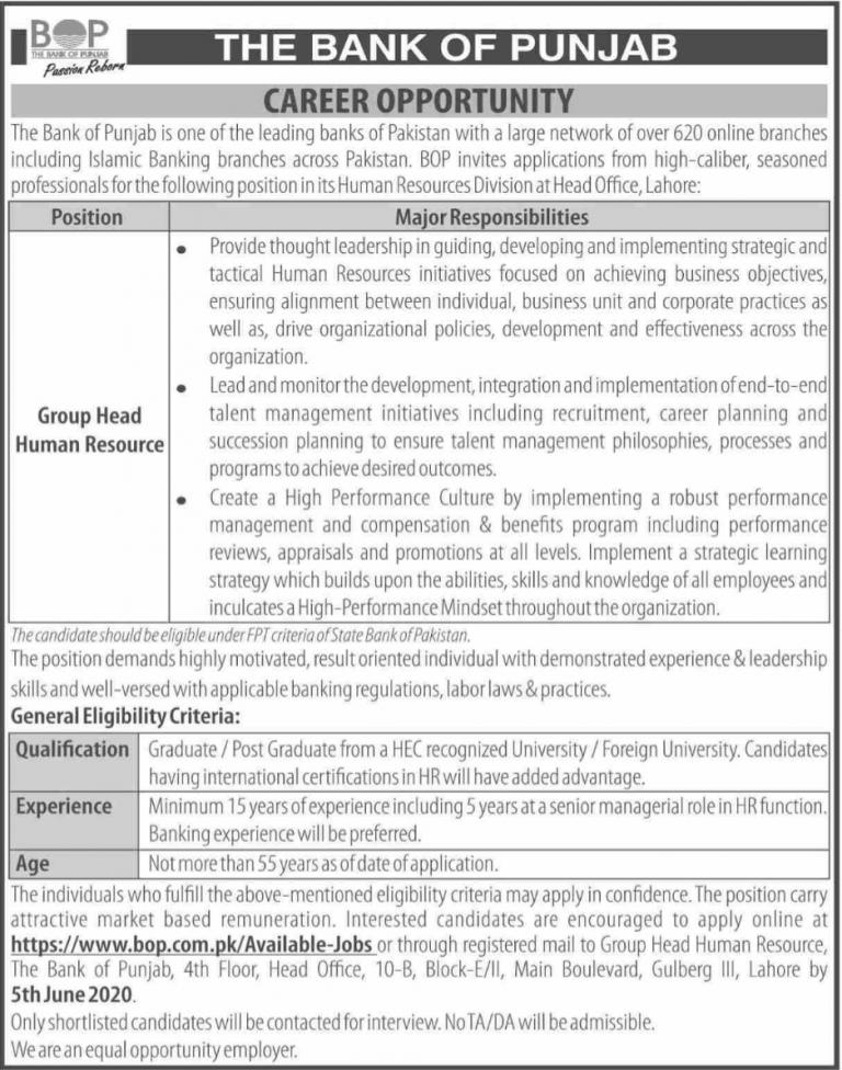 The Bank of Punjab Jobs POP Latest 2020