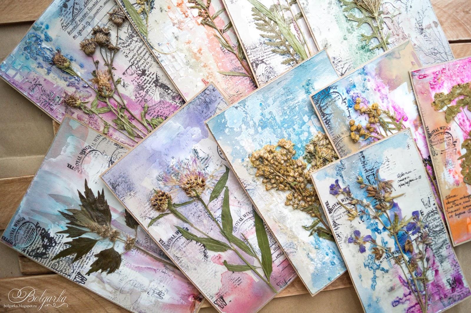 открытка с сухими цветами