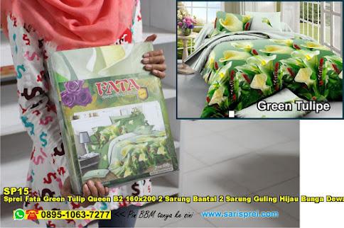 Sprei Fata Green Tulip Queen B2 160x200 2 Sarung Bantal 2 Sarung Guling Hijau Bunga Dewasa Poly TC