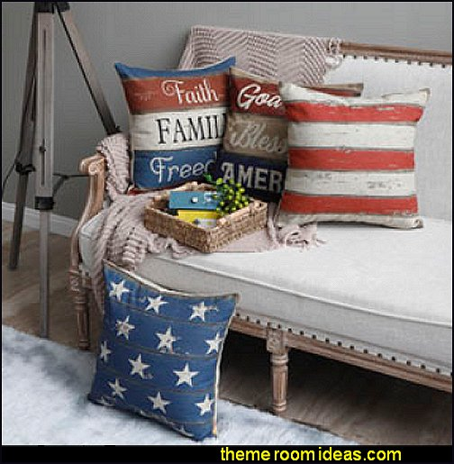 Independence Day Holiday Faith Family Freedom Burlap Pillow Cover Cushion Cover