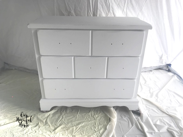 white painted pine dresser spray paint